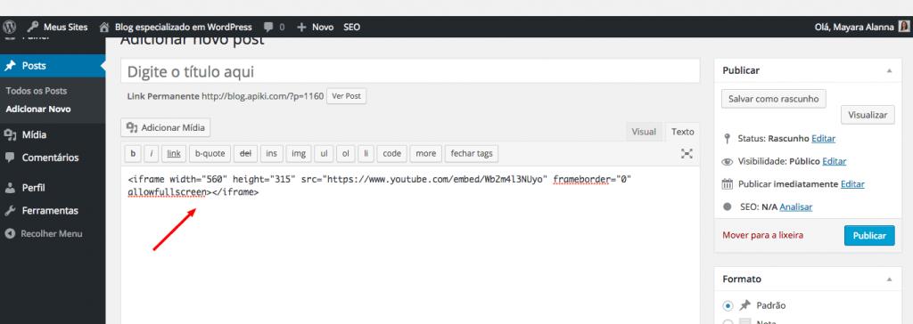 iFrame de vídeo do YouTube inserido no editor do WordPress