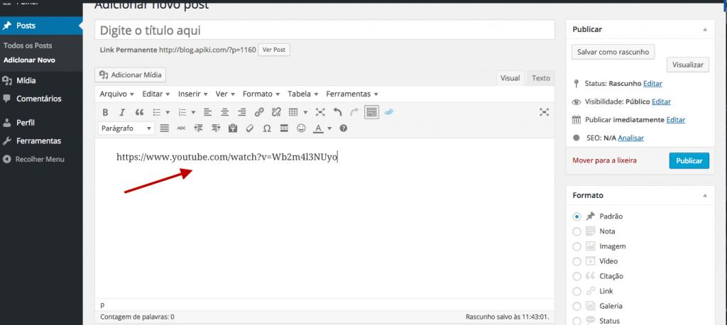 Link de vídeo do YouTube para oembed no WordPress