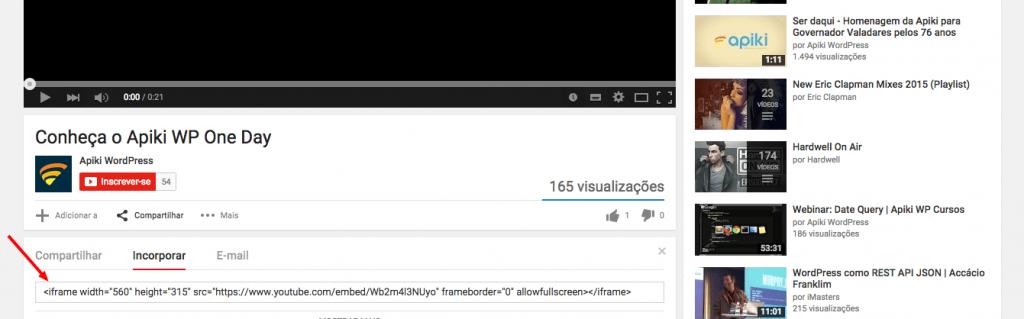 Código de embed de vídeo do YouTube