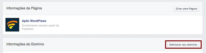 """Facebook Insights e seu botão """"Adicionar seu domínio"""""""