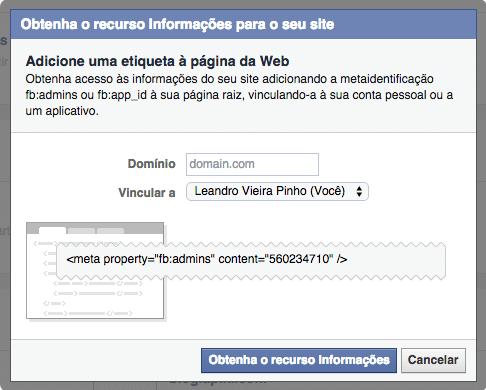 Facebook Insights vincular domínio a usuário/aplicativo