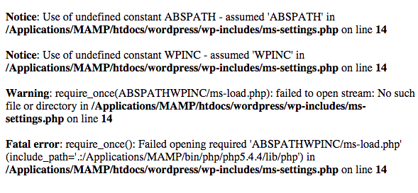 Exemplo da vulnerabilidade Full Path Disclosure através do arquivo ms-settings.php