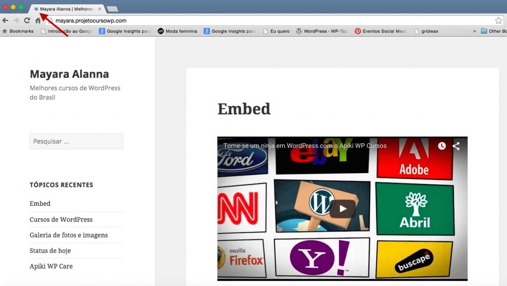 Exibição do ícone do site no WordPress 4.3