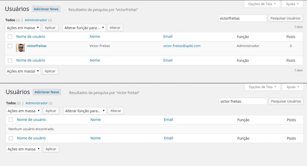 Busca de usuários na administração melhorada na versão 4.3