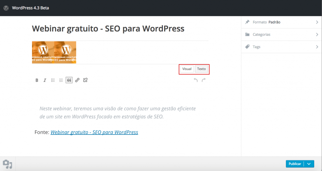 "A nova tela do ""Publique isso"" no WordPress 4.3, com destaque para os editores visual e de texto."