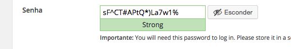 Senhas fortes sempre serão sugeridas durante o processo de instalação do WordPress