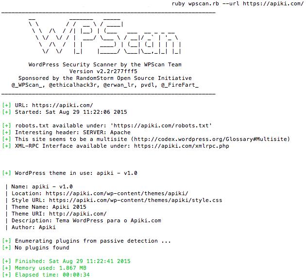 Exemplo de uso do WPScan