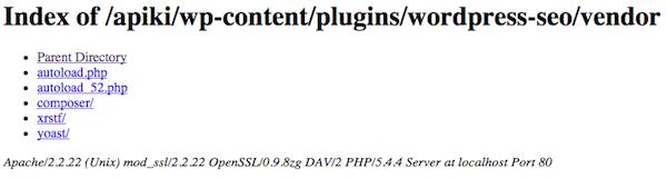 Exemplo de listagem de diretório de um plugin WordPress