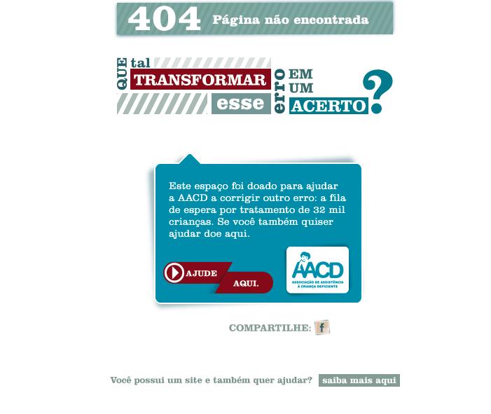 Página de erro 404 da AACD