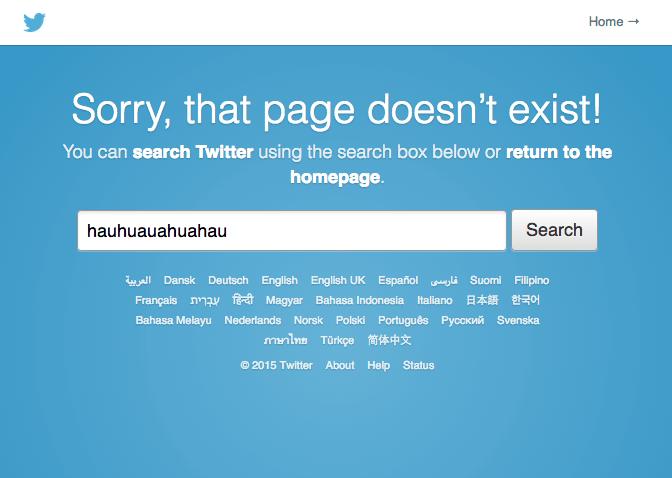 Página de erro 404 do Twitter