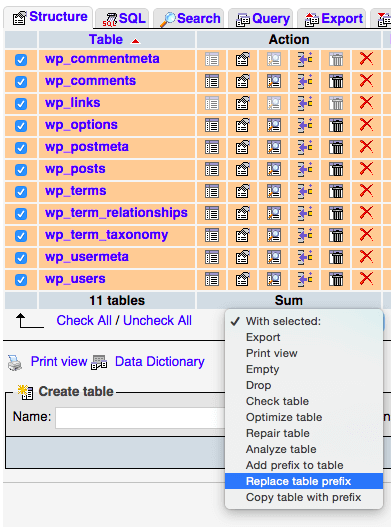 Função nativa do phpMyAdmin para alterar o prefixo da tabela de banco de dados do WP