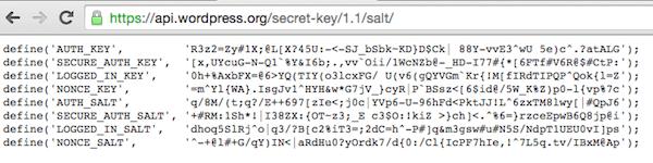 Imagem com códigos exemplificando as chaves de segurança do WordPress gerado pelo serviço do WordPress.org