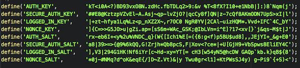 Exemplo das chaves de segurança do WordPress no arquivo wp-config.php