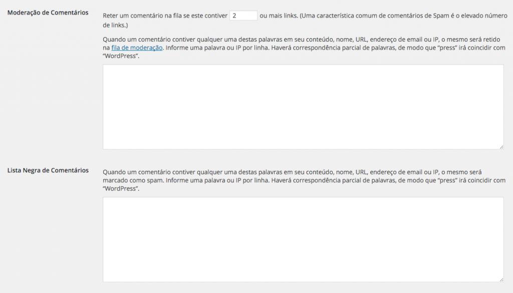 Configurações anti-spam