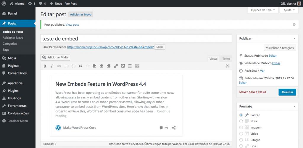 Exemplo de embed de post de sites de terceiros