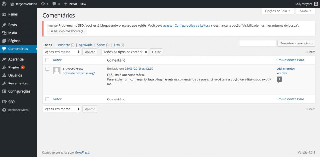 moderação de comentários no painel administrativo do WordPress