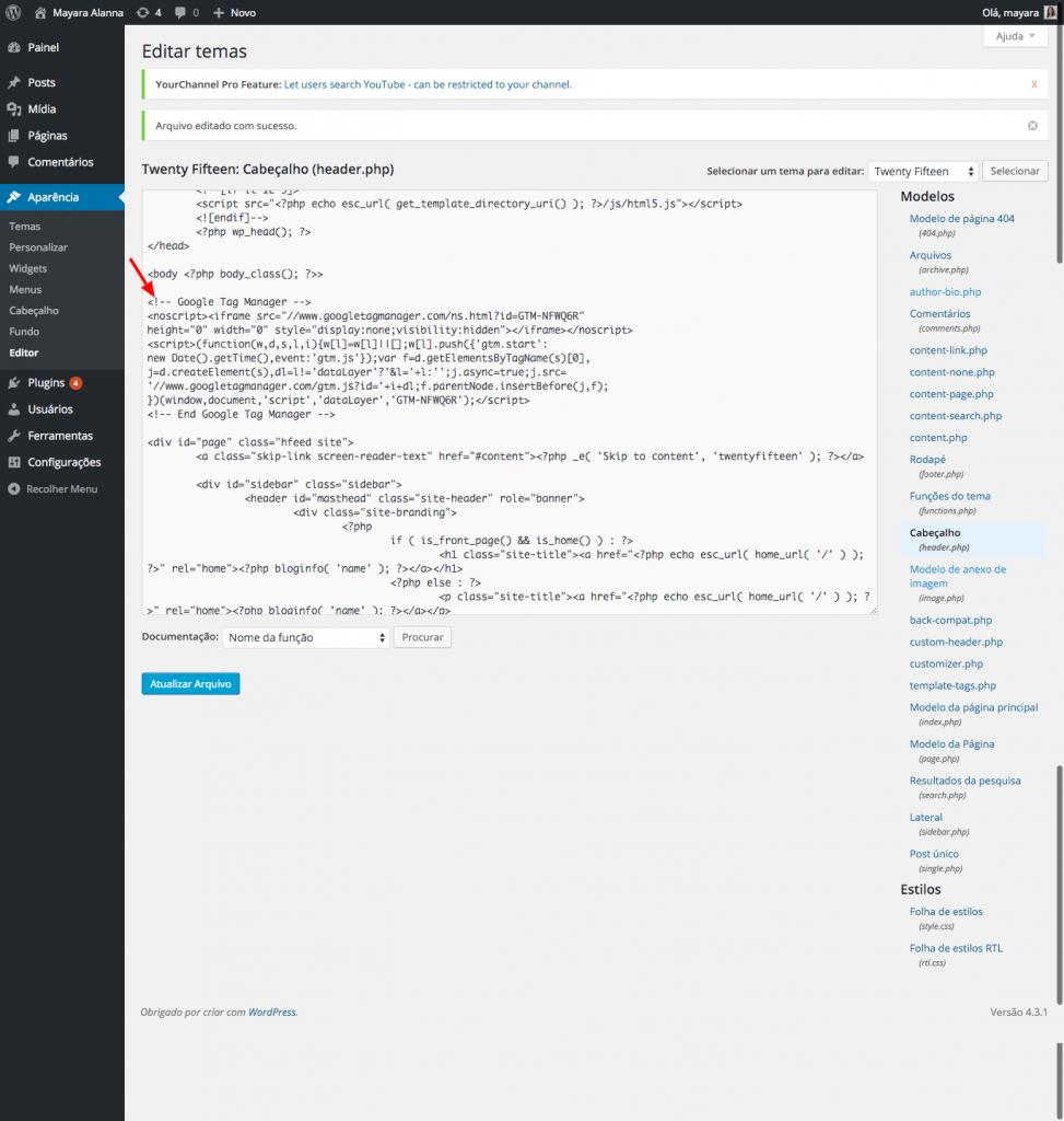 Arquivo header.php sendo editado via painel administrativo