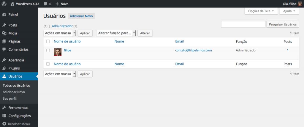 Página de lista de gerenciamento de usuários no administrador da versão 4.3.1 do WordPress.