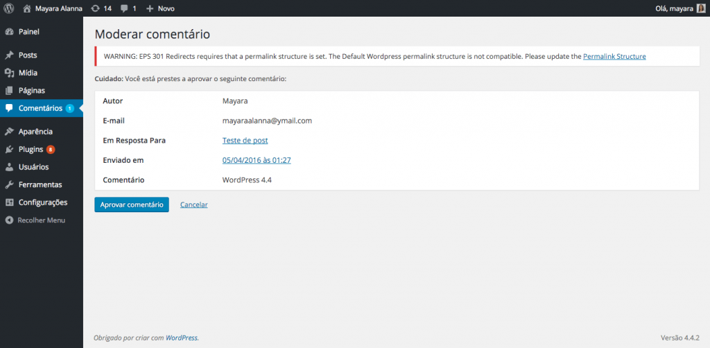 Aprovação de comentários na versão 4.4 do WordPress