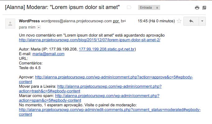 E-mail de gestão de comentários - WordPress 4.5