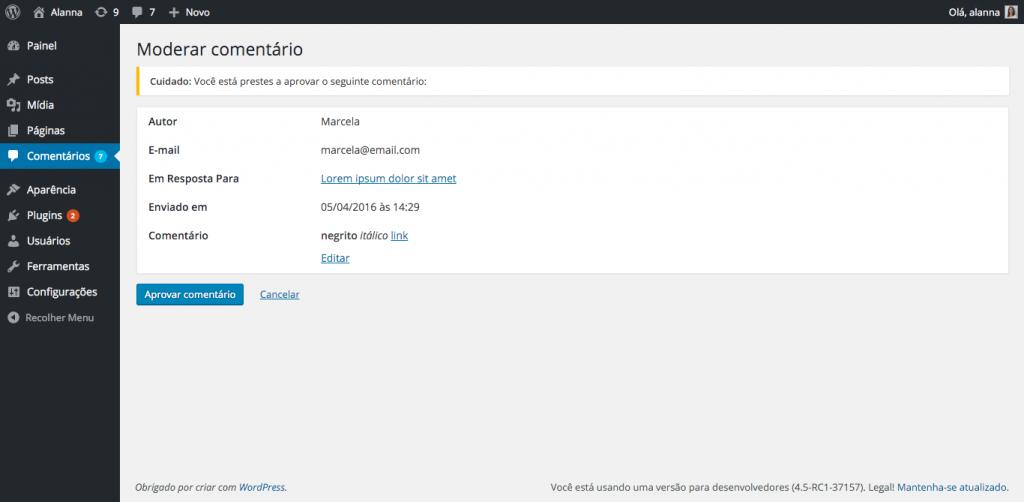 Comentário formatado com tags negrito, itálico e link no WordPress 4.5