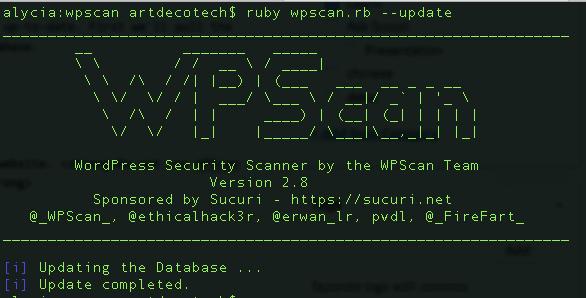 wpscanupdate - vulnerabilidades de segurança no WordPress