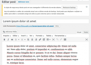 Melhorias no editor no WordPress 4.6 - copia de seguranca