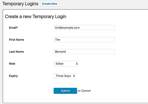 login-temporario-wordpress-janela