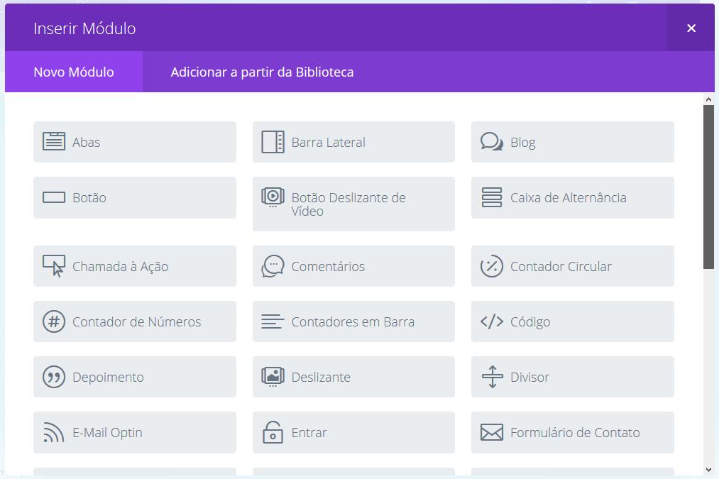 Page Builder e alguns dos elementos que podem ser inseridos utilizando Construtor Divi.