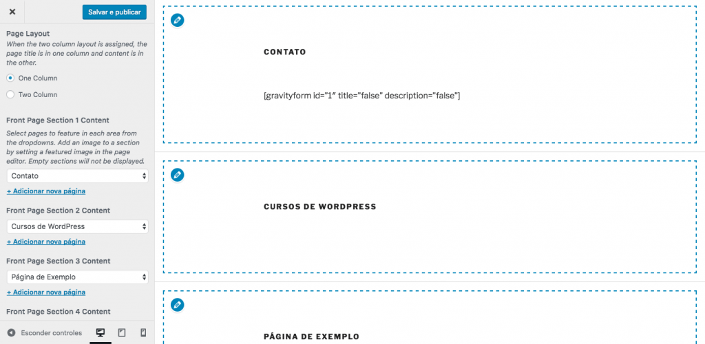 Divisão da página inicial em seções no tem Twenty Seventeen - Personalizar