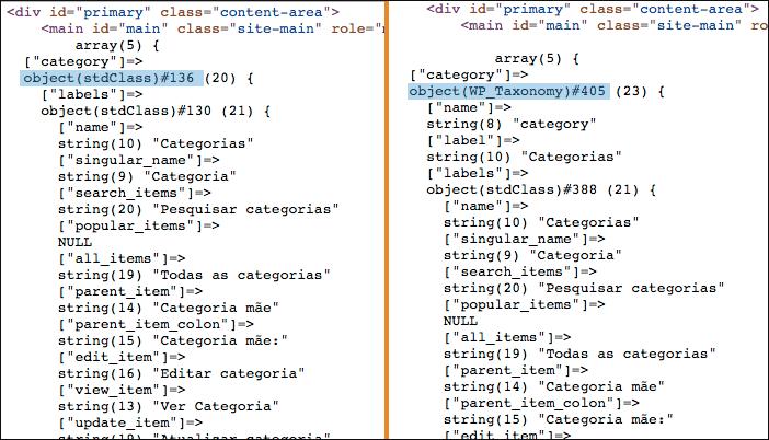 Valor retornado da variavel wp_taxonomies antes e depois