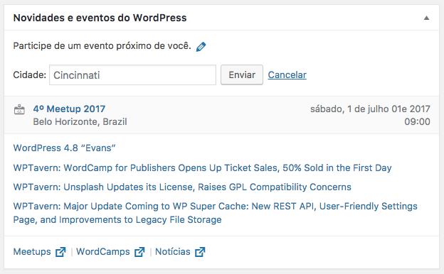 """Interface do widget """"Novidades e eventos"""" no WordPress 4.8"""