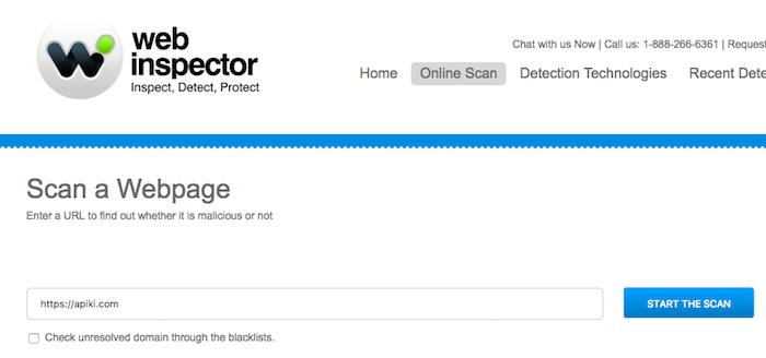 Web Inspector Online Scan