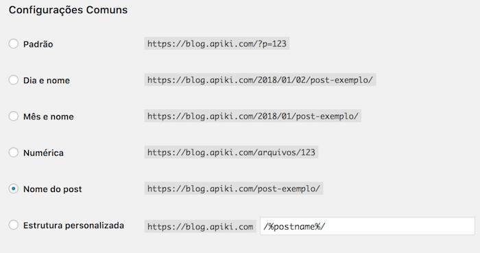 Tela de configuração das URLs amigáveis no WordPress