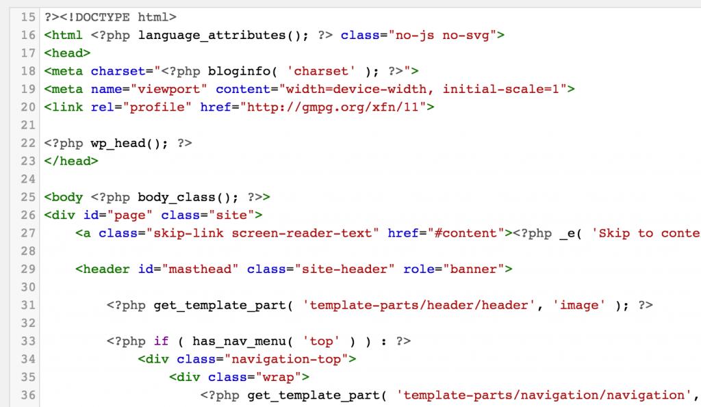 Ilustração da CodeMirror no WordPress 4.9