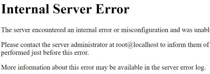 """Tela com a mensagem de erro """"Internal Server Error'"""