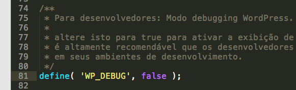 Opção de Debug do WordPress desativada