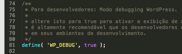 Opção de Debug do WordPress ativada