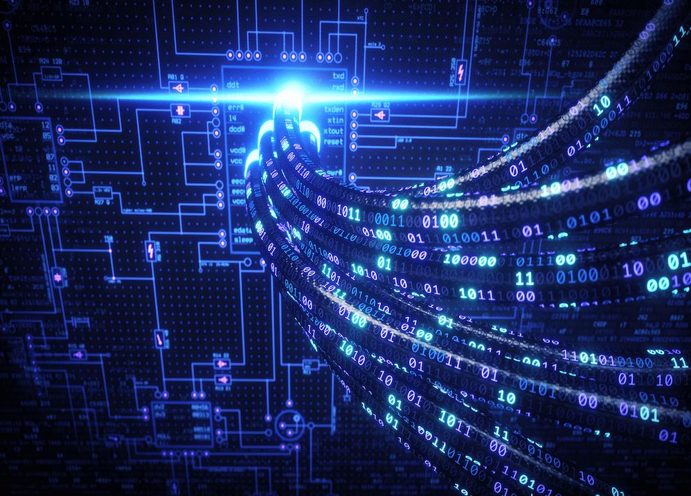 Imagem ilustrativa com cabos binários e interligados
