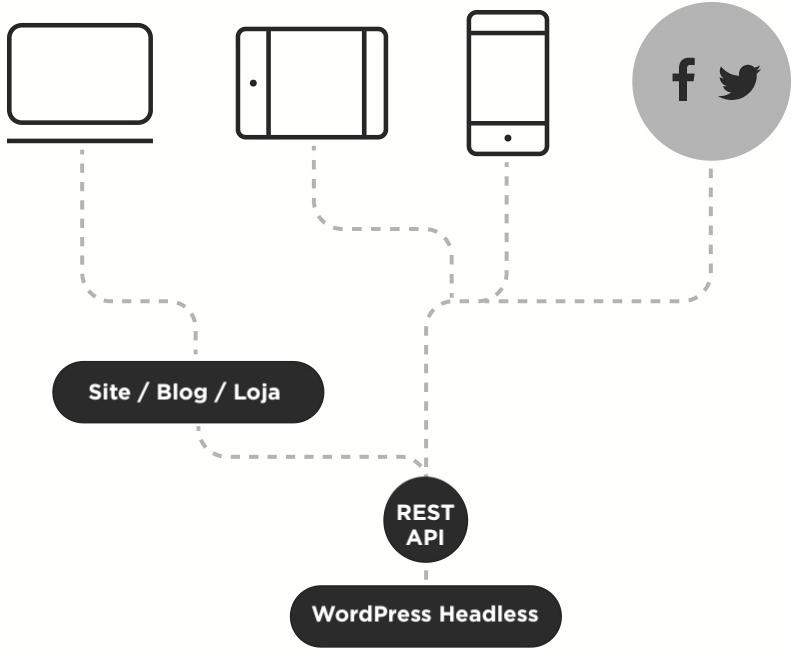 Ilustração explicando o conceito de API First e WordPress Headless
