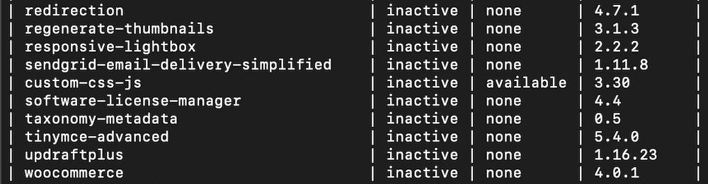 Exemplo de resultado da execução de um comando do WP-CLI