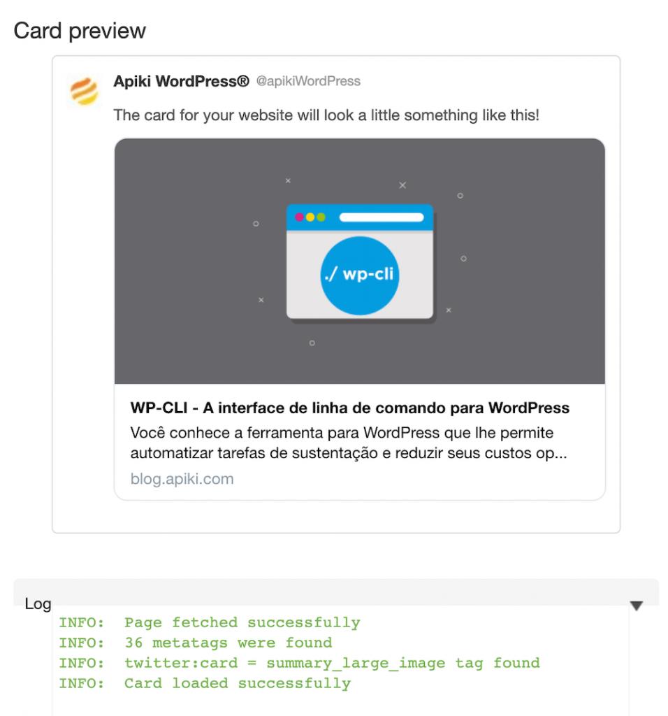 Exemplo de resultado de uma consulta no Card validator do Twitter
