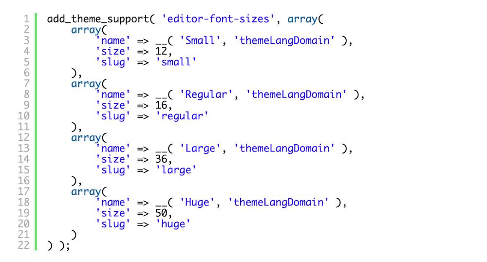 Exemplo de código para habilitar um dos recursos ocultados do Gutenberg