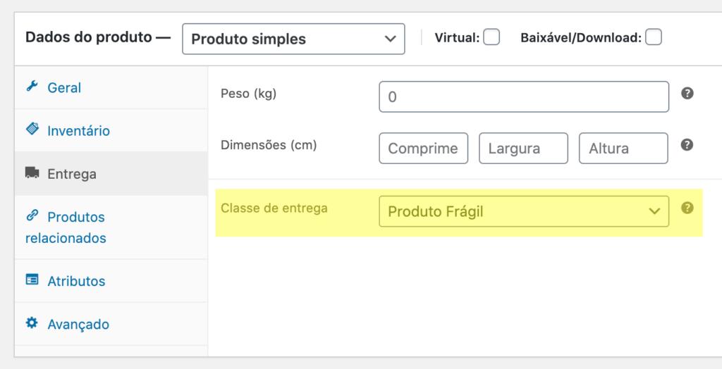 Interface de edição de produto com a opção de Classe de entrega definida