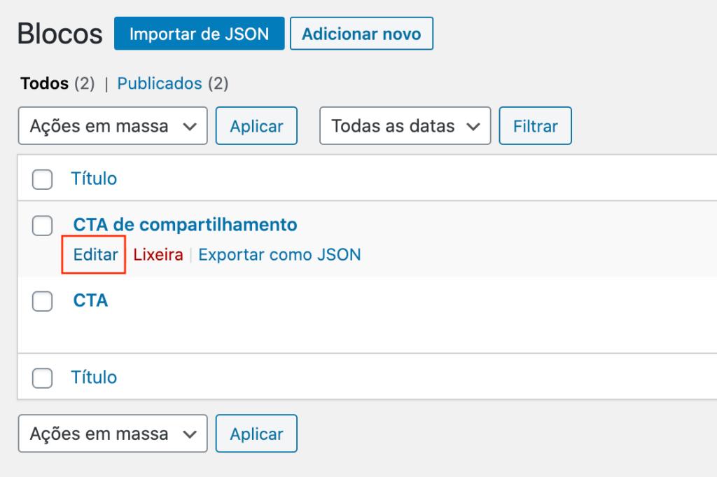 """Demonstração do link de """"Editar"""" bloco reutilizável"""