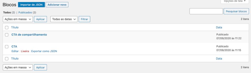 Interface de gestão dos blocos reutilizáveis no WordPress