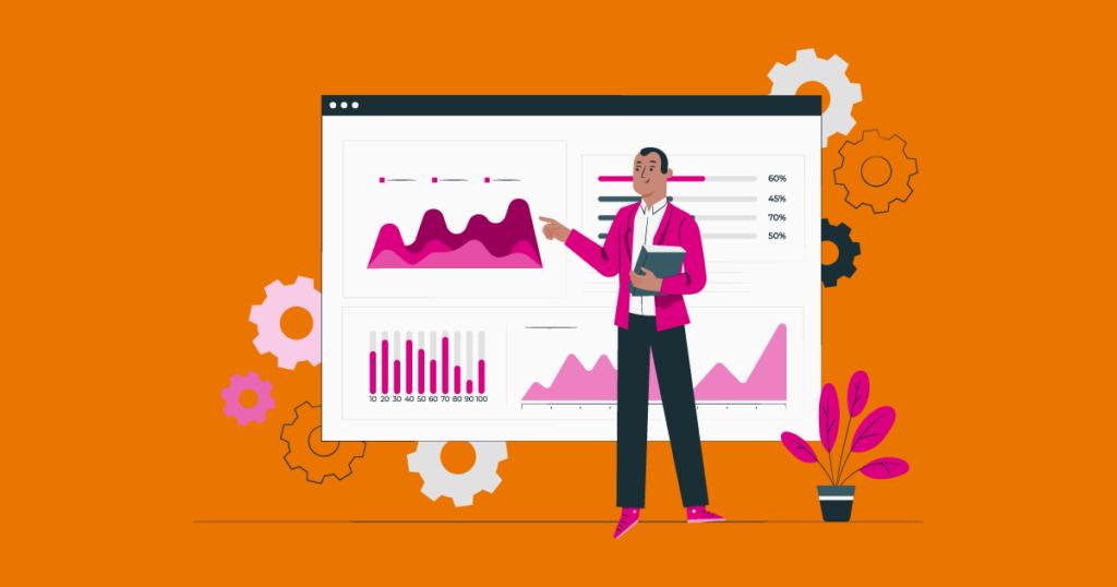 Ilustração mostrando um homem analisando os elementos que determinam a performance de site WordPress